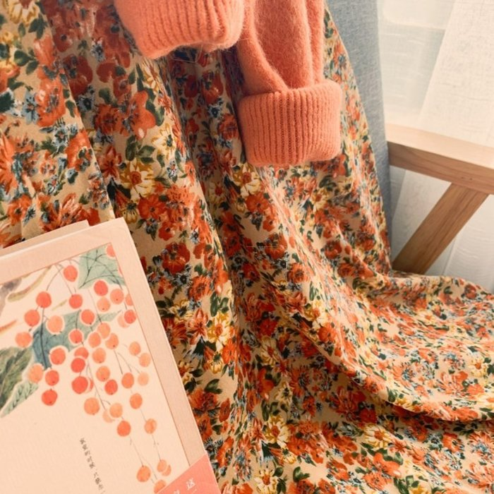 【韓國訂單】春日超美配色  碎花雪紡長裙半身裙【Up實際拍攝】