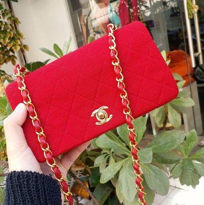 Chanel vintage coco紅色羊皮×佳績布經典格紋mini包