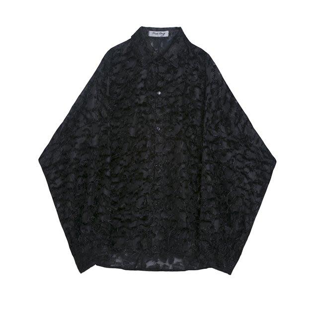 FINDSENSE 2019 秋季上新 G7 黑色立體流蘇慵懶寬鬆蝙蝠袖寬鬆素面襯衫白色上衣男裝
