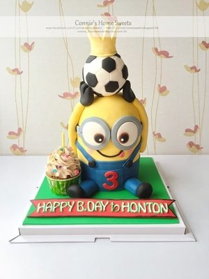 【Connie's Home Sweets】Minions 3D Birthday cake, football theme