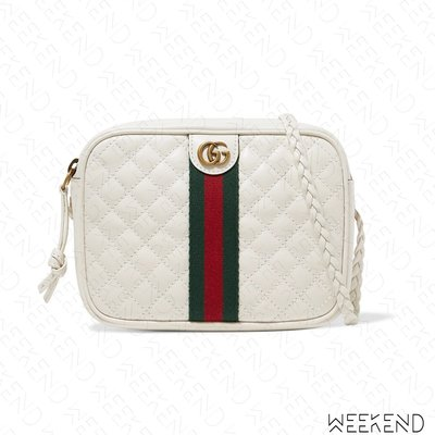 【WEEKEND】 GUCCI Quilted Mini 迷你 壓紋 皮革 編織背帶 肩背包 白色 536441
