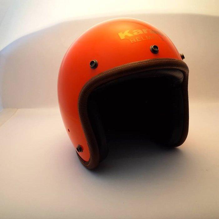 (I LOVE樂多)卡拉斯 KARAS K-1 亮光橘 4/3復古質感安全帽(牛皮邊條+小羊皮.黑麂皮內裝)