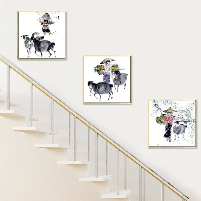 掛畫 壁畫 樓梯間裝飾畫新中式水墨風格走廊過道盡頭門廳中國風餐廳墻壁掛畫