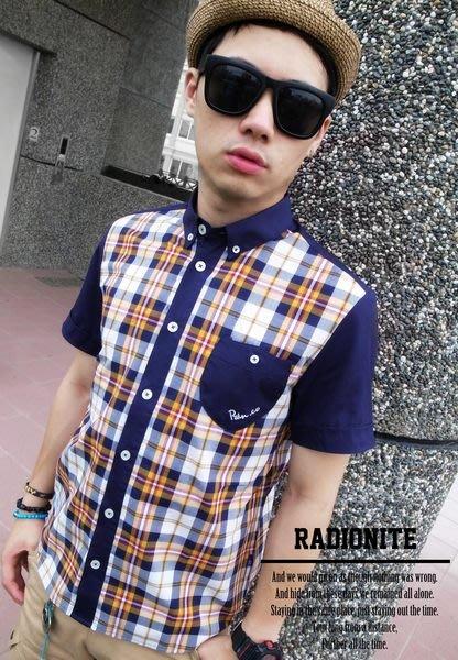 美國東村【RADIONITE】Plaid Shirt 格紋 拼接 短袖 窄身 英倫 修身 襯衫 三色
