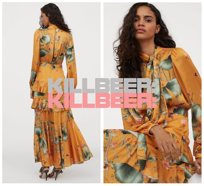 KillBeer:中國風的奇幻異想之 歐美復古典雅豔彩氣質光澤亮黃花朵印花領結綁帶垂墜感連身裙長洋裝010407