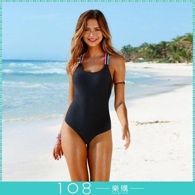 108樂購  美背性感 連身 彩繩款 顯瘦 比基尼 泳衣 保守安全包覆 沙灘 玩水 烤肉 溫泉 【BG401】