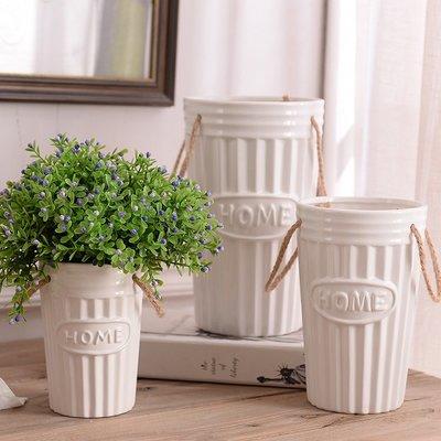 麻繩白色陶瓷花瓶花器 居家餐廳簡約花瓶裝飾(大號)_☆優購好SoGood☆