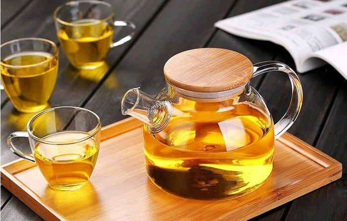【自在坊】玻璃茶具  加厚花茶壺  耐熱玻璃茶壺  歐式冷水壺1000ml大容量 贈2個雙層杯