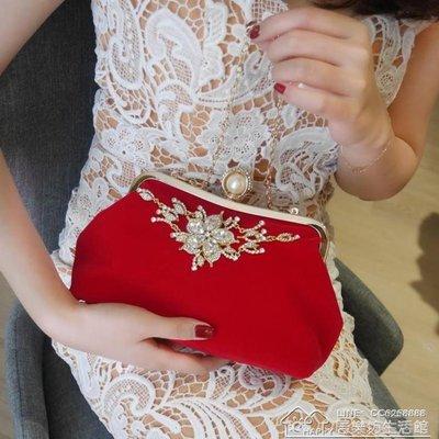 女包手拿包新娘包包結婚包紅時尚日韓晚宴包鏈條潮手提