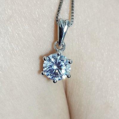 項鍊2克拉高碳鑽仿真鑽石項鏈女鑽石吊墜...