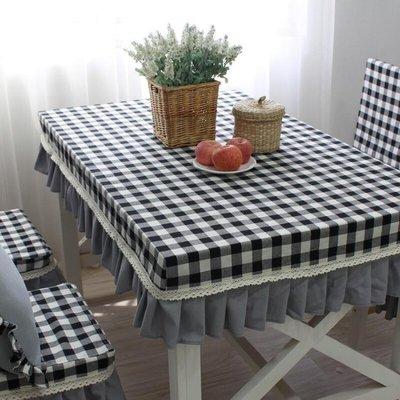 桌巾布藝田園棉麻格子餐桌巾椅套套裝茶幾桌巾連體椅子套椅墊