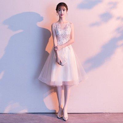 現貨包郵伴娘服新款夏季中長款香檳色姐妹團學生洋裝小晚禮服連衣裙女