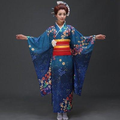 高雄艾蜜莉戲劇服裝表演服*日本和服/動漫改良藍色櫻花女和服*購買價$1800元/出租價$500元