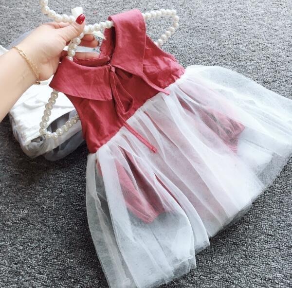 韓 洋裝 包屁軟紗裙 女寶寶1百天嬰兒無袖娃娃翻領公主裙 三角哈衣—莎芭