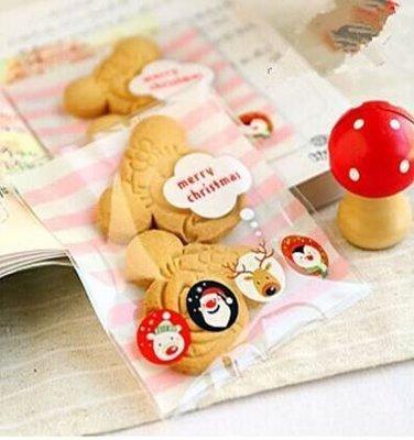 (5300)DIY樂樂 買1送1 聖誕粉色橫條紋自黏袋10*10cm(1元2張)手工皂袋 巧克力袋 餅乾袋