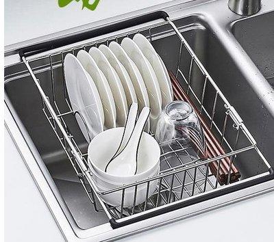 水槽瀝水架廚房收納置物碗架伸縮不銹鋼洗菜盆洗碗池放碗筷瀝水籃第