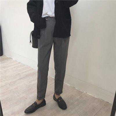 【UBY】超正煙管褲!英倫煙灰直筒西裝褲◄No03305