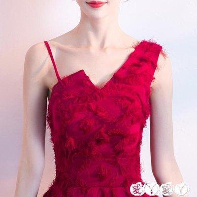 小禮服 紅色敬酒服新娘結婚夏季性感主持人訂婚小禮服裙女短款秋