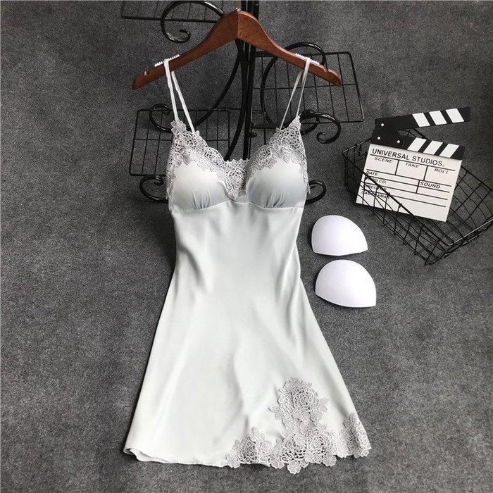 廠家~最低價19新品睡衣女春夏天性感吊帶睡裙有胸墊冰絲綢情趣極度誘惑家居服