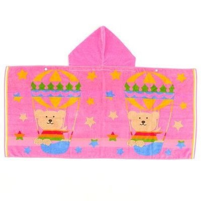 尼德斯Nydus~* 日本正版 彩虹熊 Rainbow Bear 浴巾 連帽浴袍 披巾 熱氣球100%純棉-日本製
