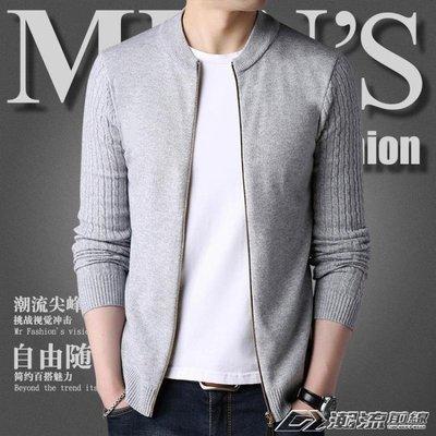 新款針織開衫男青年秋韓版拉鍊毛衣外搭線衫修身薄款帥氣男外套
