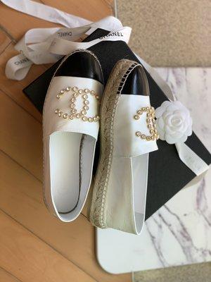 「正品」2019 metier d'art Chanel 香奈兒 新款 espadrille 白色水鑽 款