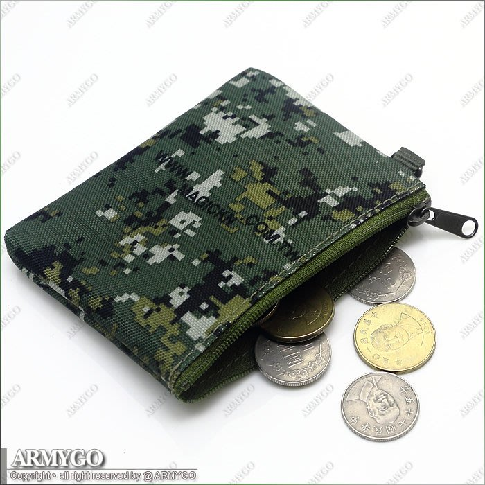 【ARMYGO】拉鍊式隨身零錢包 (國軍數位迷彩 / 黑 / ACU數位迷彩 共三色可選擇)