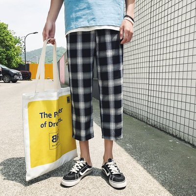 哈尼 M-5XL 2019夏季爆款情侶格子褲 日系休閑七分褲 男士加大碼男褲