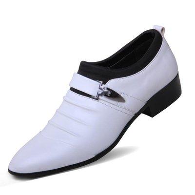 售完即止-白色透氣男士商務正裝皮鞋男英倫夏季韓版青年尖頭套腳婚鞋10-22(庫存清出T)