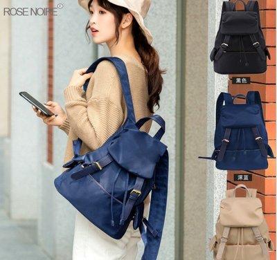 Cutie-Newbag「CB147」韓國連線真皮防水尼龍軟雙肩後背包/韓妞必備真皮水桶包托特大尼龍包