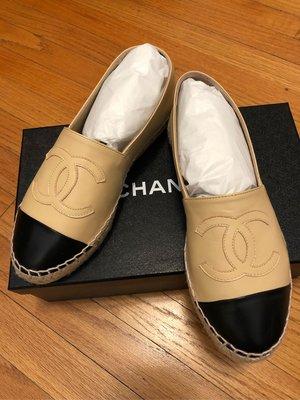 CHANEL 鉛筆鞋 米黑 36