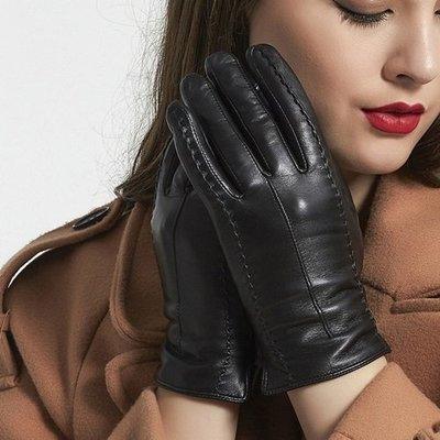 觸控手套 真皮手套-雙針背筯山羊皮加絨女手套73wm53[獨家進口][米蘭精品]