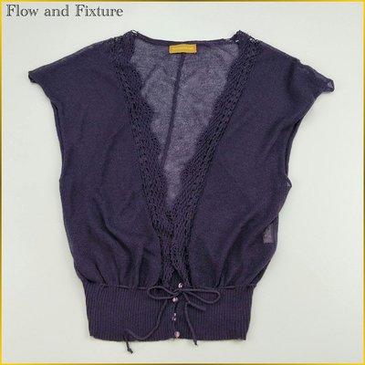 日本二手衣✈️FLOW and FIXTURE 全開式罩衫 深紫色 針織外套 小罩衫 腰綁帶 日本女裝M号 A0167F