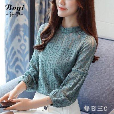 雪紡襯衫新款韓版長袖蕾絲衫仙女裝洋氣小衫網紗打底上衣 qw2438