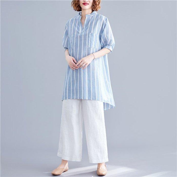 ✿ 吉米花 ✿ B-091701 時尚休閒條紋襯衫 ( 淺藍 F ) 全碼 現貨