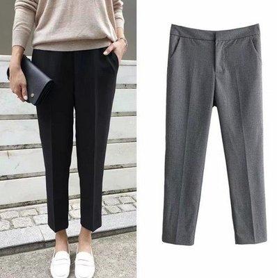 【An Ju Shop】外單 歐美西班牙風 春夏款 OL氣質高腰純色顯瘦直筒休閒西裝褲~S5B155223