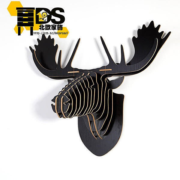 DS北歐家飾§ 復古仿舊LOFT設計復刻 黑色 馴鹿頭壁掛 牆壁裝飾簡約壁飾掛件鄉村庭園風格