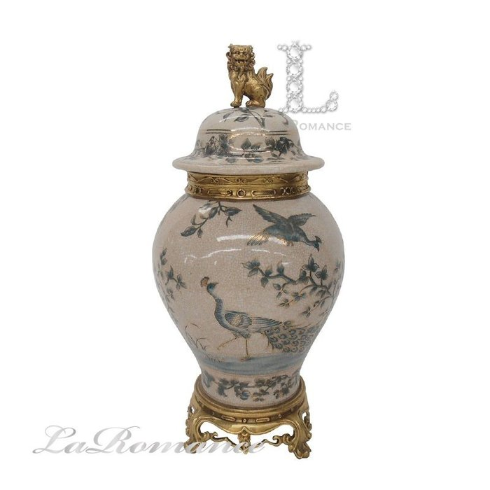 【芮洛蔓  La Romance】 美國 Castilian 純銅陶瓷手繪孔雀將軍罐 (小) / 擺飾