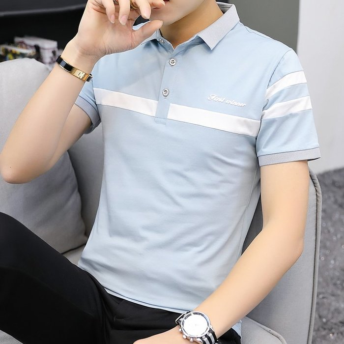 男士短袖T恤夏季帶領有領男裝純棉POLO衫青少年半袖體恤薄款潮T桖 POLO衫 男士衣著 短袖 大尺碼 素面衫