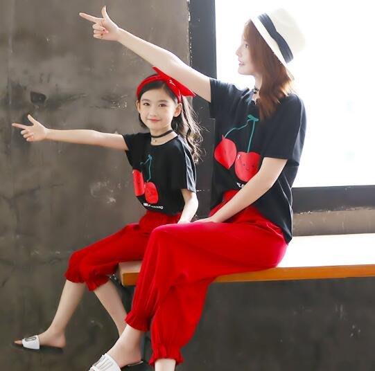 莎芭 親子裝 夏裝母女裝 時尚套裝 純棉t恤 女童童裝 中大童5-15歲