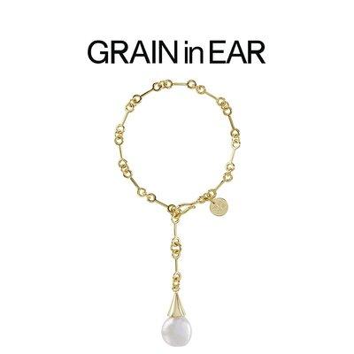 SC STORE~GRAIN in EAR 法式優雅 限量款鍍18k金珍珠紐扣貝母手鍊 時髦小眾