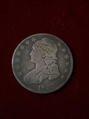 售美國Draped Bust Lettered Edge Half Dollar 1833年5角銀幣     @05