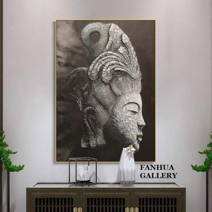 C - R - A - Z - Y - T - O - W - N 佛像禪意裝飾畫新中式黑白佛頭像玄關巨幅畫書房走廊臥室
