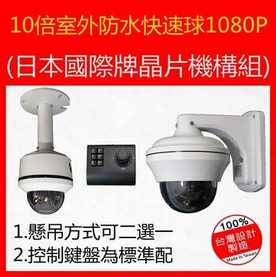 桃園監視器10倍AHD超高清晰戶外高速球1080P二百萬攝影機整套日本國際晶片機構(含鍵盤))