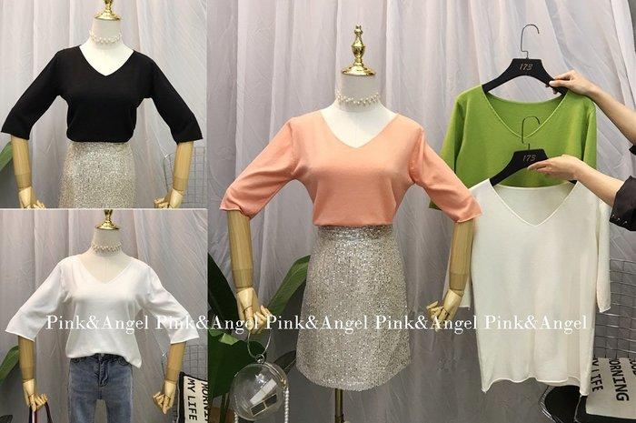 ❤Pink&Angel❤【35130】韓版V領七分袖顯瘦低V領純色針織衫寬鬆顯瘦針織衫。5色。現+預