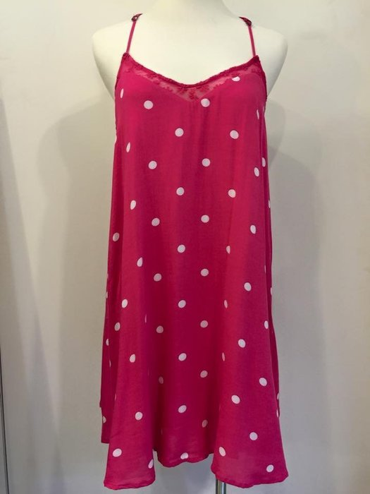 Hollister HCO 女生 Southside 蕾絲拼接點點洋裝 桃紅 S 現貨-78151