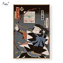 微噴日本浮世繪裝飾畫現代日式餐廳客廳歌川人物誠忠義士新款(4款可選)