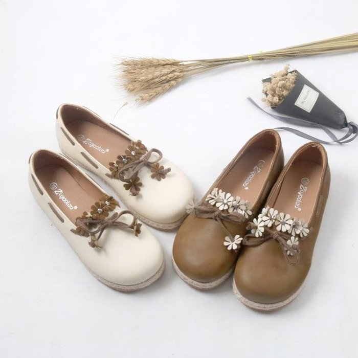 日系森女系春季新款軟妹平底鞋圓頭小花朵單鞋草編大頭娃娃鞋女鞋