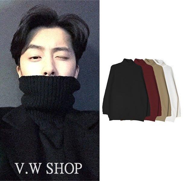 V.W SHOP 純色高領毛衣 黑色 酒紅 卡其 米白 男女可穿 歐美 日韓 針織