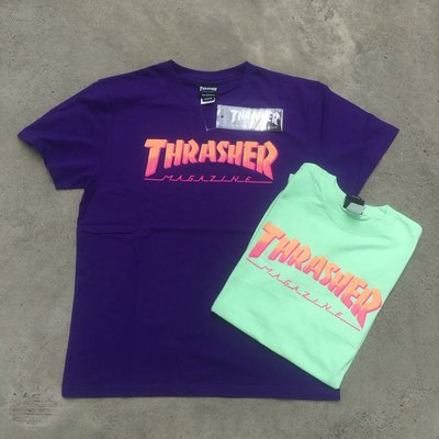 ☆LimeLight☆ THRASHER HOMETOWN SPIKE TEE 漸層 夏天 紫色 / 蘋果綠